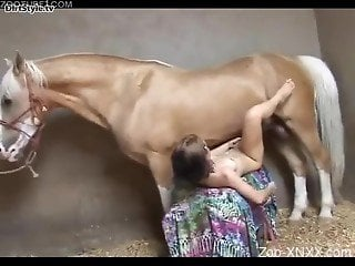 Short-haired beauty fucking a big-dicked horse