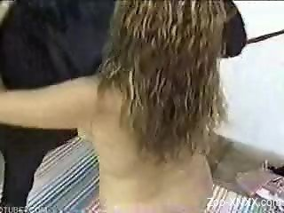 Curly-haired chick takes this horse's big black dick