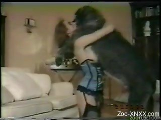 Giant black dog and hot zoophile in vintage bestiality